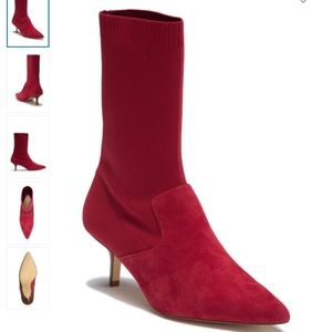 HALSTON HERITAGE Annalise suede sock boots Red